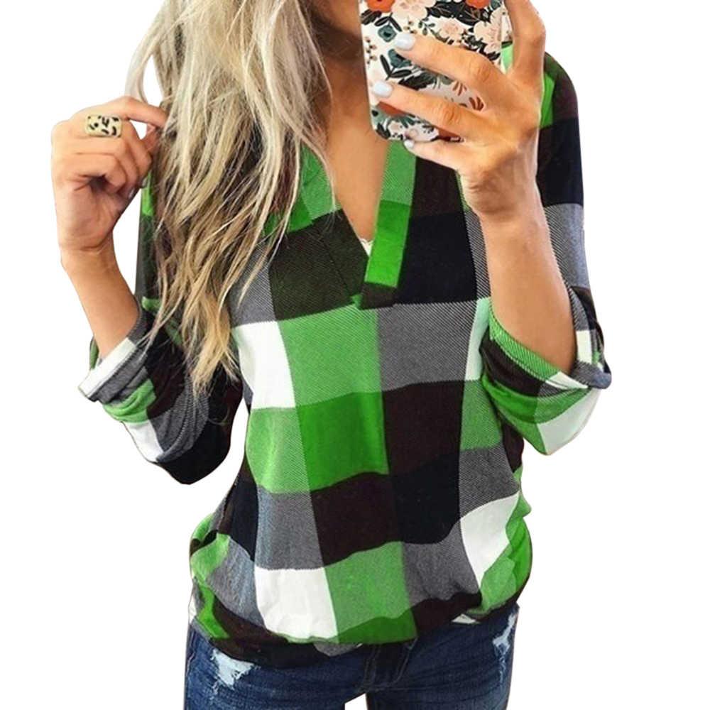 ผู้หญิงสบายๆลายสก๊อตเสื้อแขนยาว V คอเสื้อเซ็กซี่สตรีแฟชั่นหลวมเสื้อ TOP 2019 ฤดูใบไม้ร่วงฤดูหนาวผู้หญิงเสื้อ