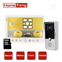 Homefong Video Door Phone Doorbell Intercom System for Villa 7 Inch Home Security System Record SD Card Rainproof Unlock
