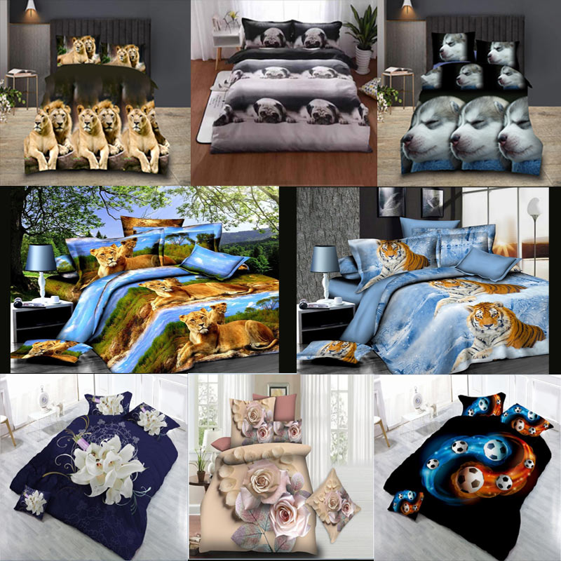 Animal 3D Bedding Set Linen Luxury Double Duvet Quilt Cover King Bed Sheet Pillow Cases 4 Pcs/set Home textile Brushed Fabric