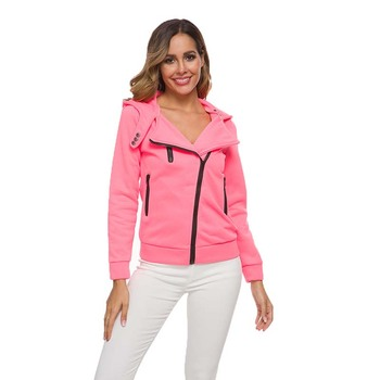 Long-sleeved autumn and winter coat women\'s fashion women\'s jacket twill zipper casual hooded fashion sweaters