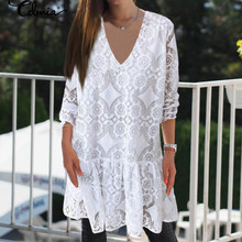 Celmia 2020 Bohemian Lace Crochet Dress Women Summer Sundress Fashion Mini Vestidos Female Casual V Neck Party Shirt Robe 5XL