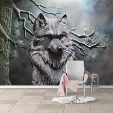 Custom Mural European Style 3D Stereoscopic Embossed Forest Wolf Non-woven Wallpaper For Living Room Restaurant Bedroom Decor цена 2017