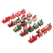 4pcs/set Cartoon Christmas Train Painted Wooden Christmas Decoration Kid Car Toys Gift Home Ornament for Kids Christmas Gifts все цены