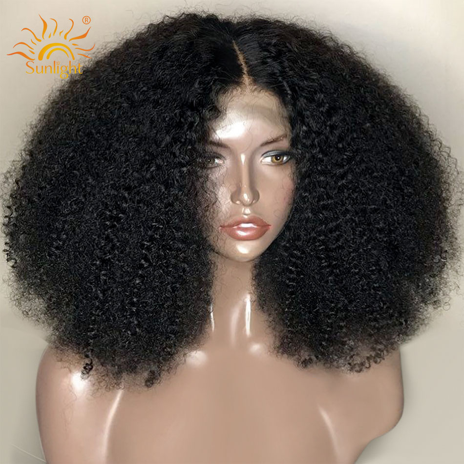 Sunlight Afro Kinky Curly Wig 13x4 Pre Plucked Lace Wigs 150% Density Peruvian Remy Short Lace Front Human Hair Wigs For Women