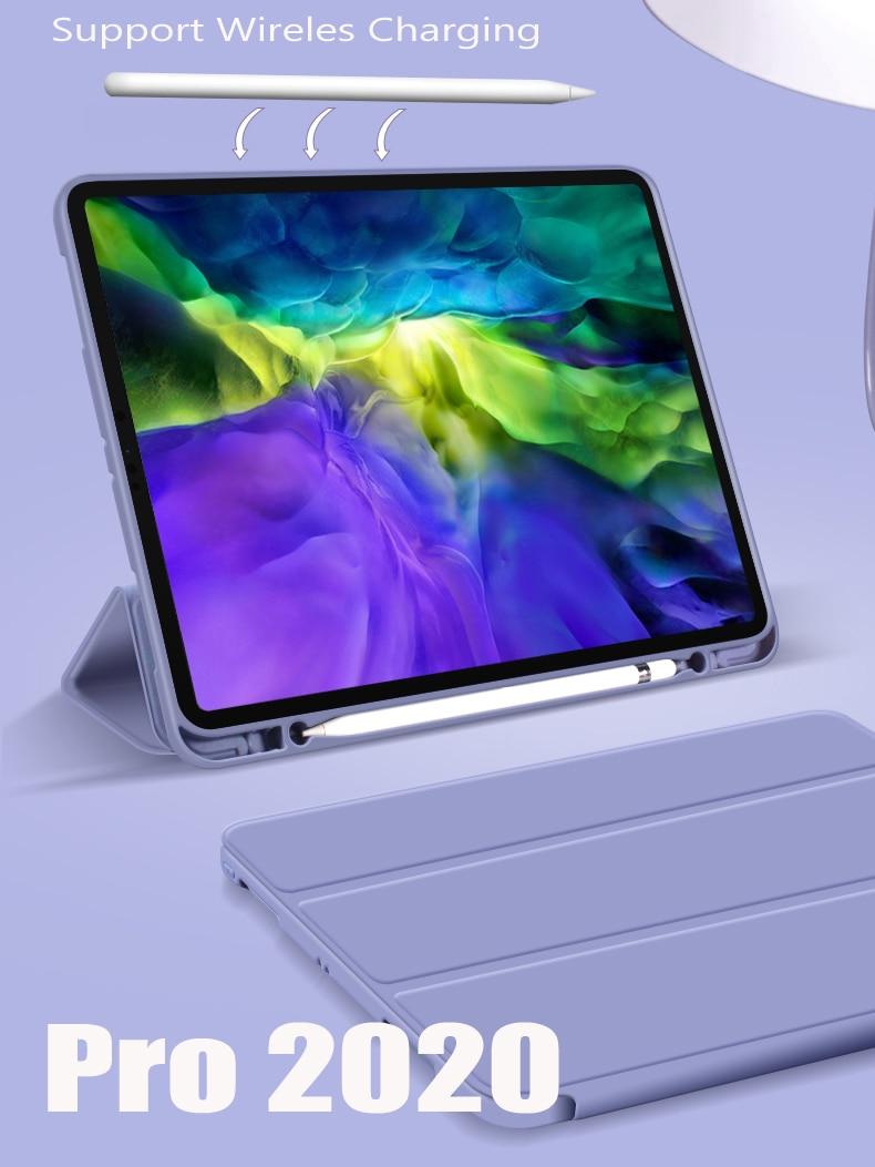 Pokrowiec GOOJODOQ na iPad Pro 11 2020 pokrowiec na iPad Air 4 pokrowiec Air 2020 10.9 Pro 11 12.9 12 9 2018 Funda Coque skórzany pokrowiec Smart