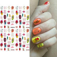 Nail Sticker Colorful Snowflakes English Alphabet Water Transfer Decal Slider for Art Decoration Tattoo Manicure Wrap Tools
