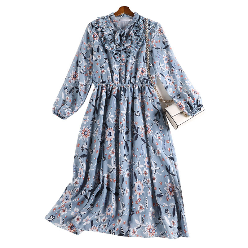 Women's Clothing Floral Printed Dress 2020 Spring Summer New Casual Bow Collar Long Sleeve Elastic Waist 5XL Plus Size Dresses