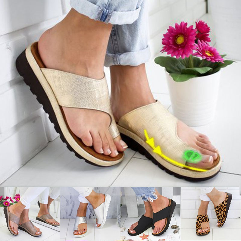 Sandals Platform-Shoes Women Casual Sole Soft PU Comfy Corrector Bunion Big-Toe