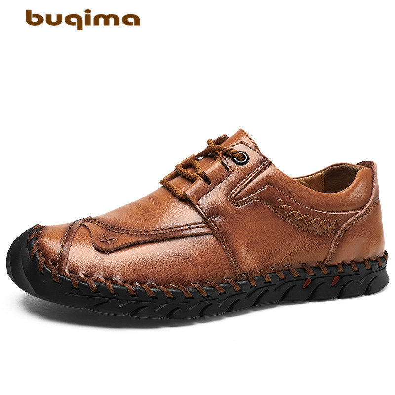 Buy buqima men's shoes winter casual leather shoes feet naked high quality lace autumn shoes outdoor 38-48 yards