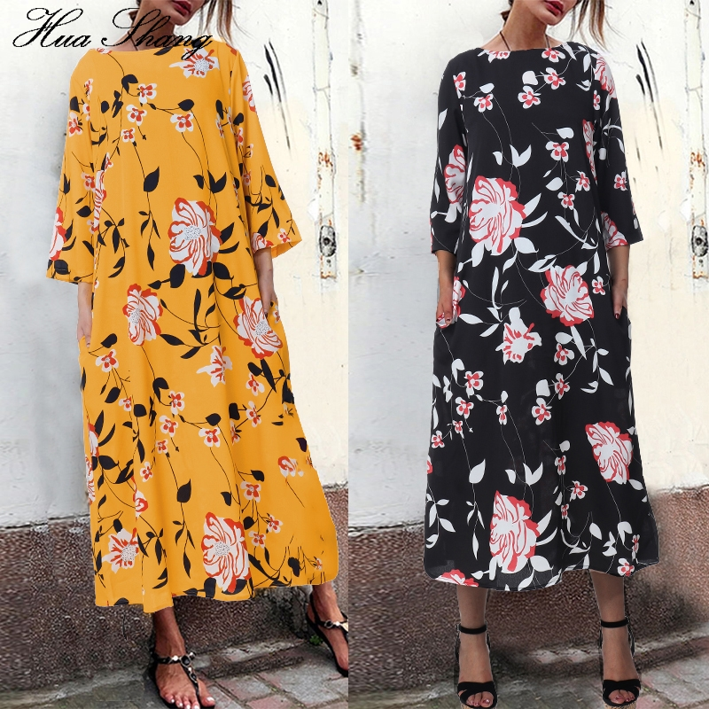 S 5xl Plus Size Floral Boho Dress Women Summer Three Quarter Sleeve Maxi Long Dress Loose Oversized Ladies Tunic Beach Dresses|Платья|   | АлиЭкспресс