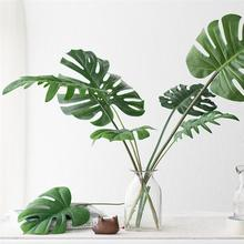 48pcs Monstera Artificial Plants Plastic  Artificial fake Monstera Green Palm Leaves Wedding Party DIY Decoration Photography