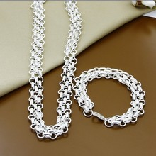 Hot Sale Jewelry Sets Silver 925 Fashion Three Rows Round Circle Necklace Bracelet Sets for Woman Men Gift(China)