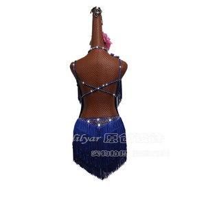 Image 4 - Shiny Rhinestones Latin Dance Dress Women Salsa Costumes High end Dance Custom Fluorescent Blue Tassel Slant Latin Dresses