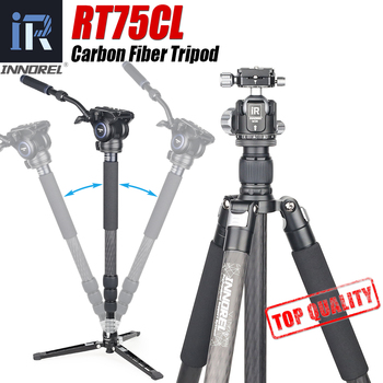 RT75CL Professional 10 Layers Carbon Fiber Tripod Monopod for DSLR Camera with Double Panoramic Low Profile Ball Head Fluid Head kingjoy official vt 1510 panoramic tripod head hydraulic fluid video head for tripod and monopod camera holder stand slr dslr