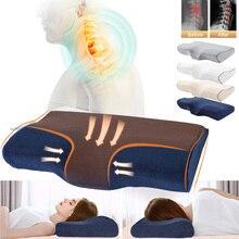 Ортопедическая подушка из пены с эффектом памяти, постельные принадлежности, подушки для шеи, мягкая подушка из волокна с медленным отскоком, массажер для шейного отдела, забота о здоровье