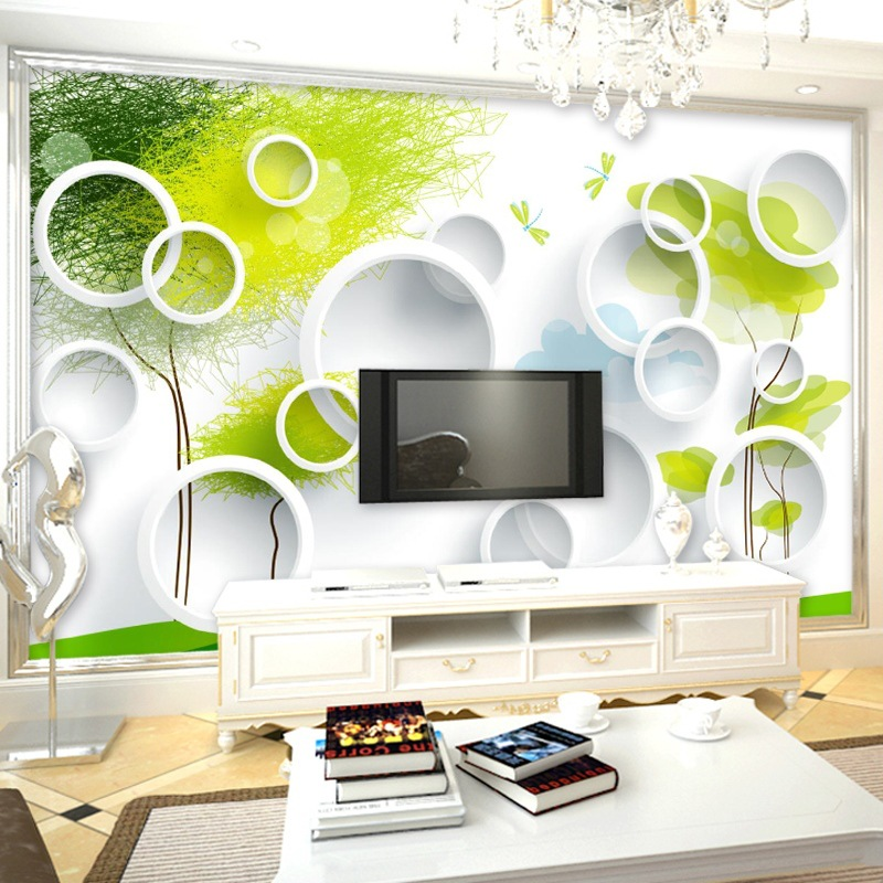 3D Simple Rose Circle TV Background Wallpaper Large Mural Wallpaper Living Room Bedroom Nonwoven Fabric