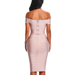 Image 3 - INDRESSME Sexy Off Shoulder Women Bandage Dress Elegant Slash Neck Knee Length Bodycon Backless Party Dress Vestidos 2020 New