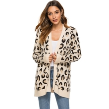 Women elegant Leopard Print Knitted Long sleeve Cardigans Autumn Winter Sweater Jacket Loose Coat Casual oversized knit sweater
