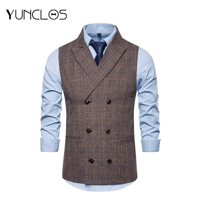 YUNCLOS Brown Double-breasted Business Banquet Vest Men Closure Collar Chalecos Para Hombre Wedding Party Vest Men S-2XL