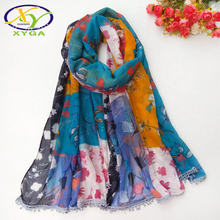 купить 1PC 180*100cm 2016 Hot Sale Fashion Twill Cotton Fly Brids Printed Women Big Size Long Scarf  Woman Cotton Pashminas дешево