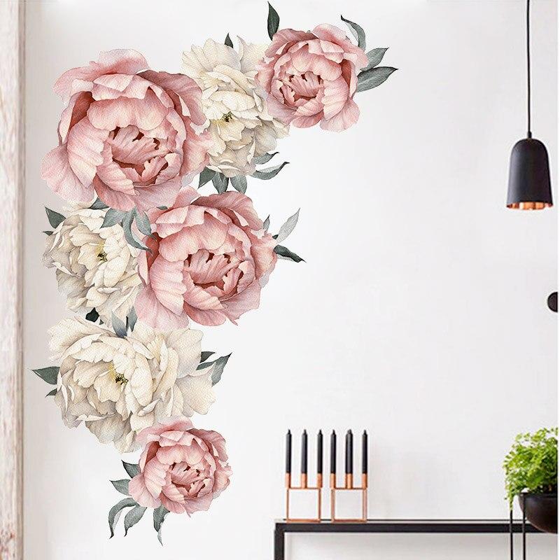 Наклейка на стену с изображением больших пионов и роз, стикер «сделай сам» для гостиной, дома, декор для спальни, Подарочные наклейки на стен...
