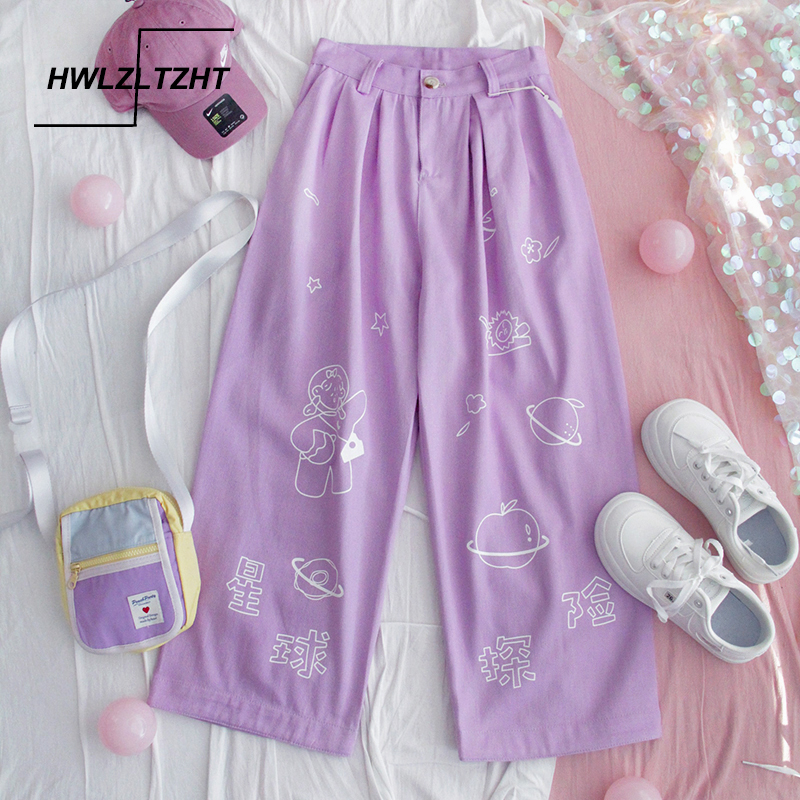 HWLZLTZHT Harajuku Cartoon Print Pants Women Japanese High Waist Pants Casual Cotton Pants Korean Kawaii Girls Wide Leg Trousers
