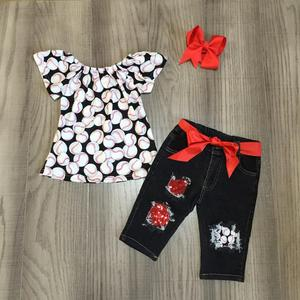Image 1 - new arrivals summer baby girls Jeans capris children cotton clothes set boutique baseball season denims match accessories