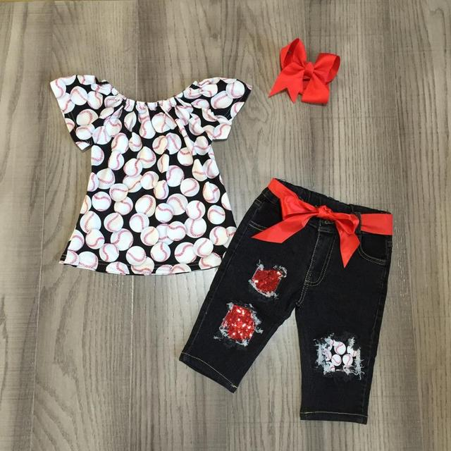 new arrivals summer baby girls Jeans capris children cotton clothes set boutique baseball season denims match accessories