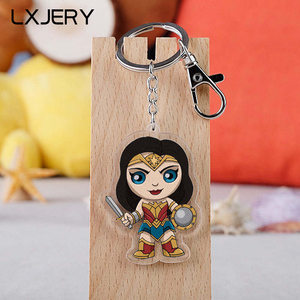 LXJERY DC Cartoon Anime Arrow Wonder Woman Keychain Double Sided Acrylic Key Chain Schoolbag Decorations Pendant Key Ring
