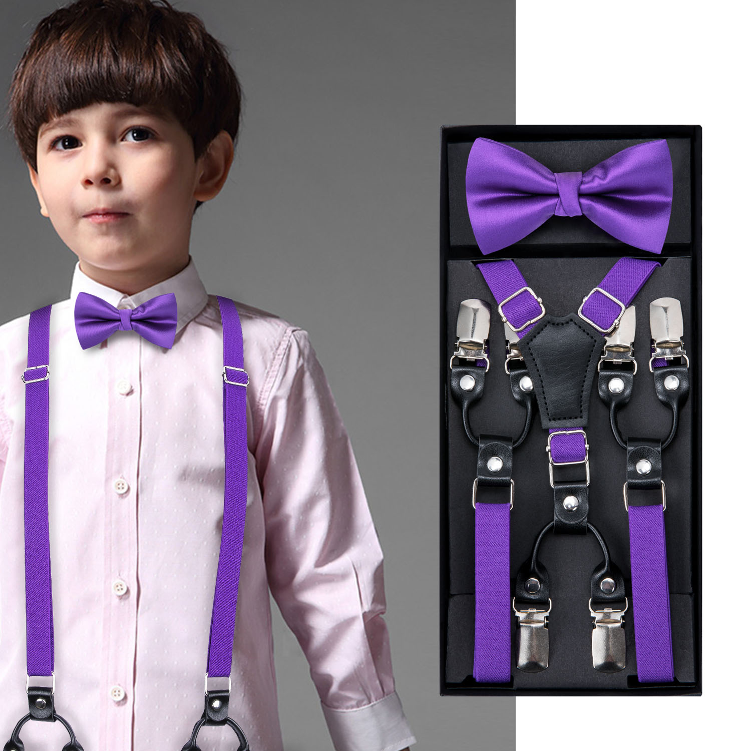 Kids Purple Elastic Suspender Bow Tie Boys Girls Wedding Party Adjustable Suspender Children Leather Y-Back Brace Belt DiBanGu