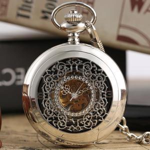 Image 4 - Fashion Hollow Bloem Zilveren Hand Kronkelende Mechanische Zakhorloge Luxe Zilveren Metalen Web Case Hand Winding Horloge Sets + Doos tas