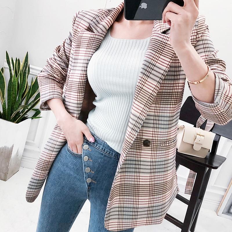 Temperament Long Women's Jacket 2019 Autumn New Double Pocket Belt Ladies Plaid Blazer Retro Slim Office Suit Female