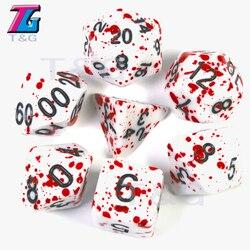 7 шт./компл. многогранные ТРП ДНД игры для непрозрачных D4-D20 Многосторонние кости для настольной игры