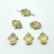 15 pièces mauvais œil paume st. Benedicte médaille croix perle accessoire pour la fabrication de bijoux bricolage accessoires faits à la main