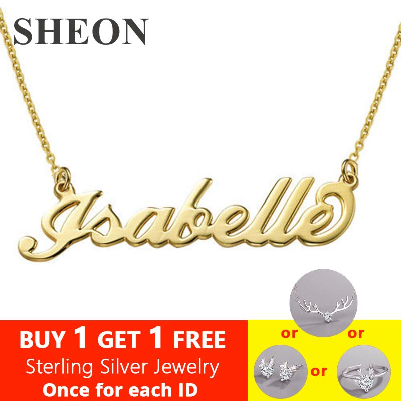 SHEON 100% 925 Sterling Silver Customized Necklace Personalized Custom Name Pendant Neckalce Jewelry For Women