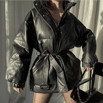 Black Stand Collar Sashes Coat Down Coat for Women Winter Warm Belted Down Jacket Windproof Coat Outwear large real fur collar women winter coat thick warm hooded down jacket duck down loose long outwear coat outdoors