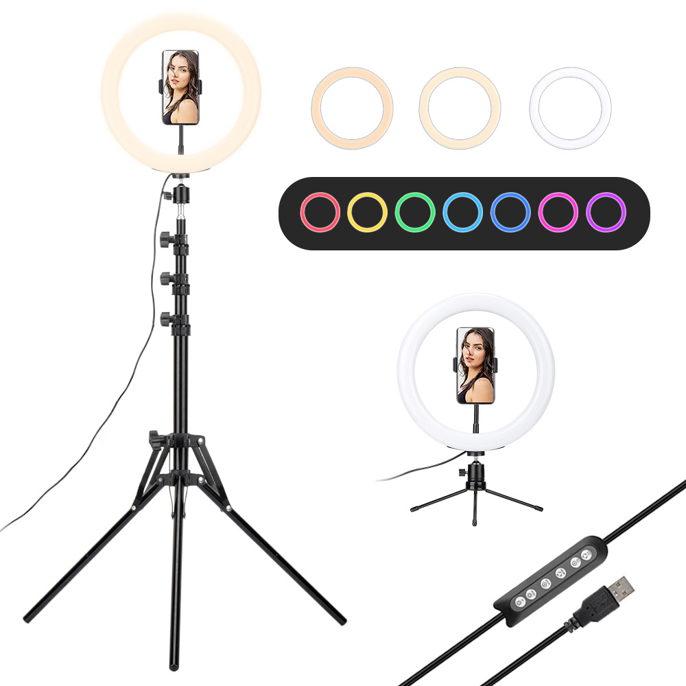 10 inch Ring Light 26cm RGB LED Dimmable Selfie Video Studio Fill Light Lamp Makeup Phone Tripod Stand For Youtube Vlog Photo