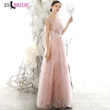 Elegant Fluffy Evening Dresses Long ES3225 A-Line Round -Neck Embroidery Appliques Evening Gown Vestidos Largos Fiesta 2020