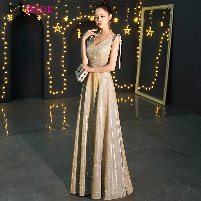 ES2780 V Neck Strap Formal Dress Women Elegant Shining Fabric Evening Dresses Long Latest Evening Party Gown Robe De Soiree
