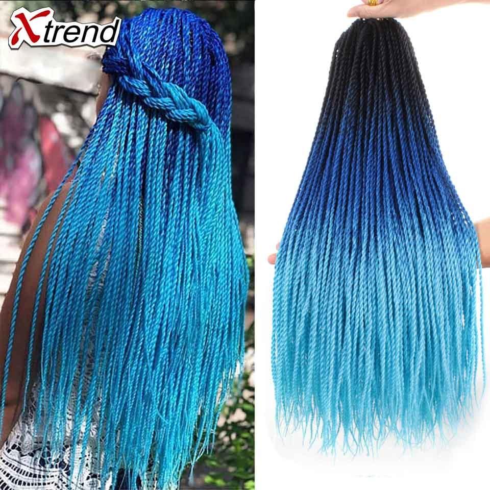 Xtrend волосы для вязания крючком Омбре Сенегальская крученая синтетическая косичка 24 дюйма 30 корней косички для наращивания