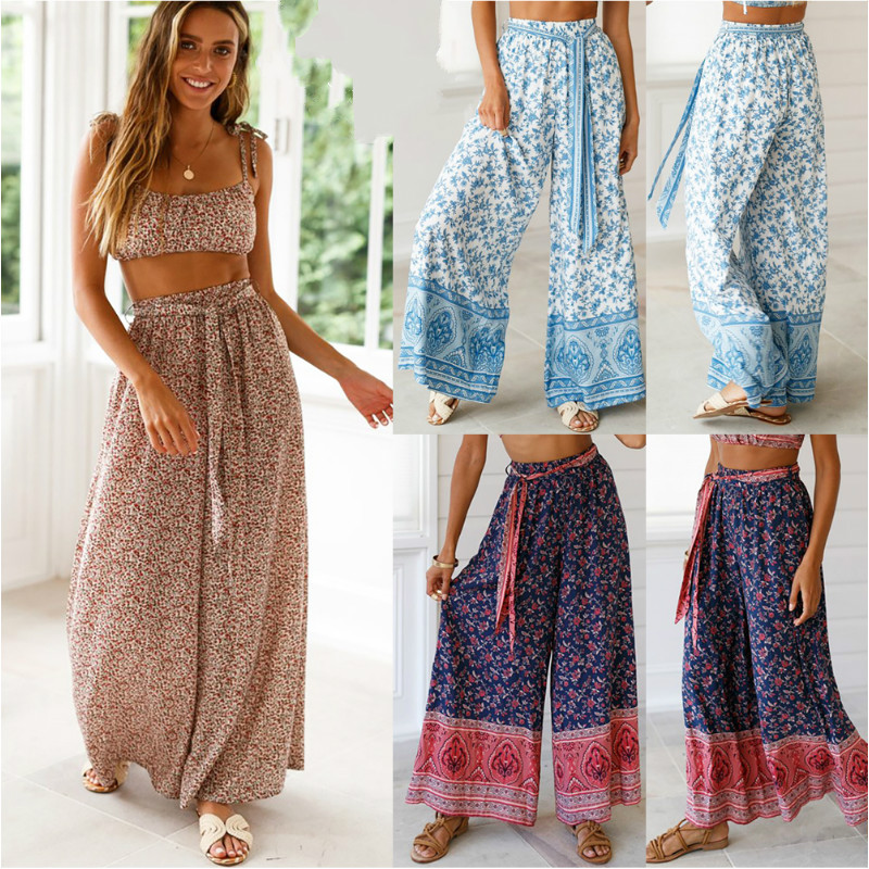 Women's Ladies Fashion High Waisted Wide Leg Harem Trousers Palazzo Loose Beach Pants With Sashes