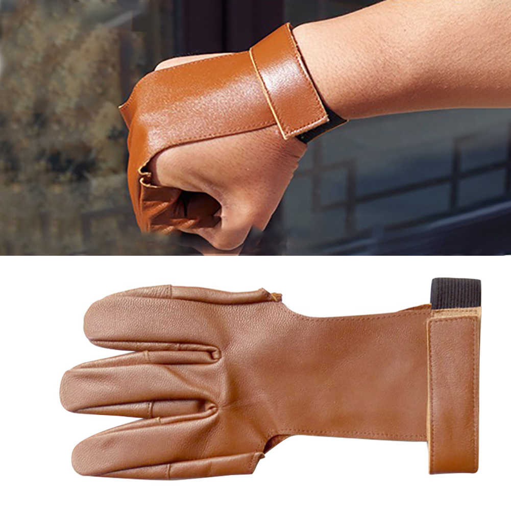 leather 3finger arrow release string glove archery bow protector guard hunting /&