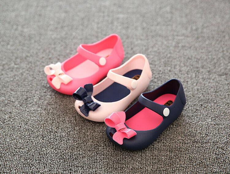 2020 New Summer Children Kids Baby Girls Sandals Shoes Toddler Infant Princess Shoes Non-Slip Plastic Bow Buckle Jelly Shoes