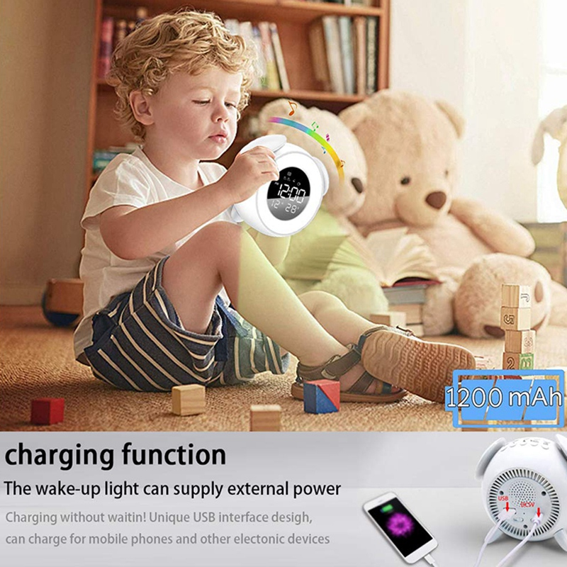 Kids Alarm Clock Press Control Night Light for Bedrooms, Multiple Alarm Sounds Sunrise and Sunset Simulation, Snooze Function Wa