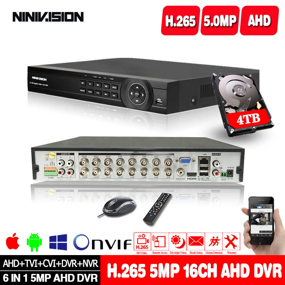5MP AHD 16 kanal AHD DVR NVR hibrid 6 in 1 Video kaydedici için 5MP 1080P TVI CVI CVBS AHD IP CCTV güvenlik kamera ile 4TB HDD