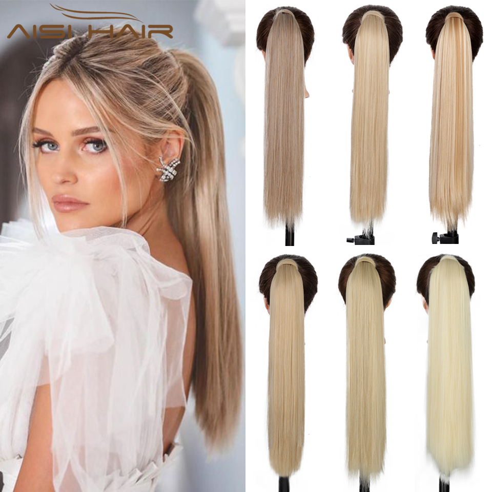 AISI HAIR Synthetic Long Straight Ponytail Extension Blonde Wrap Around Ponytail Clip in Hairpiece for Black Women