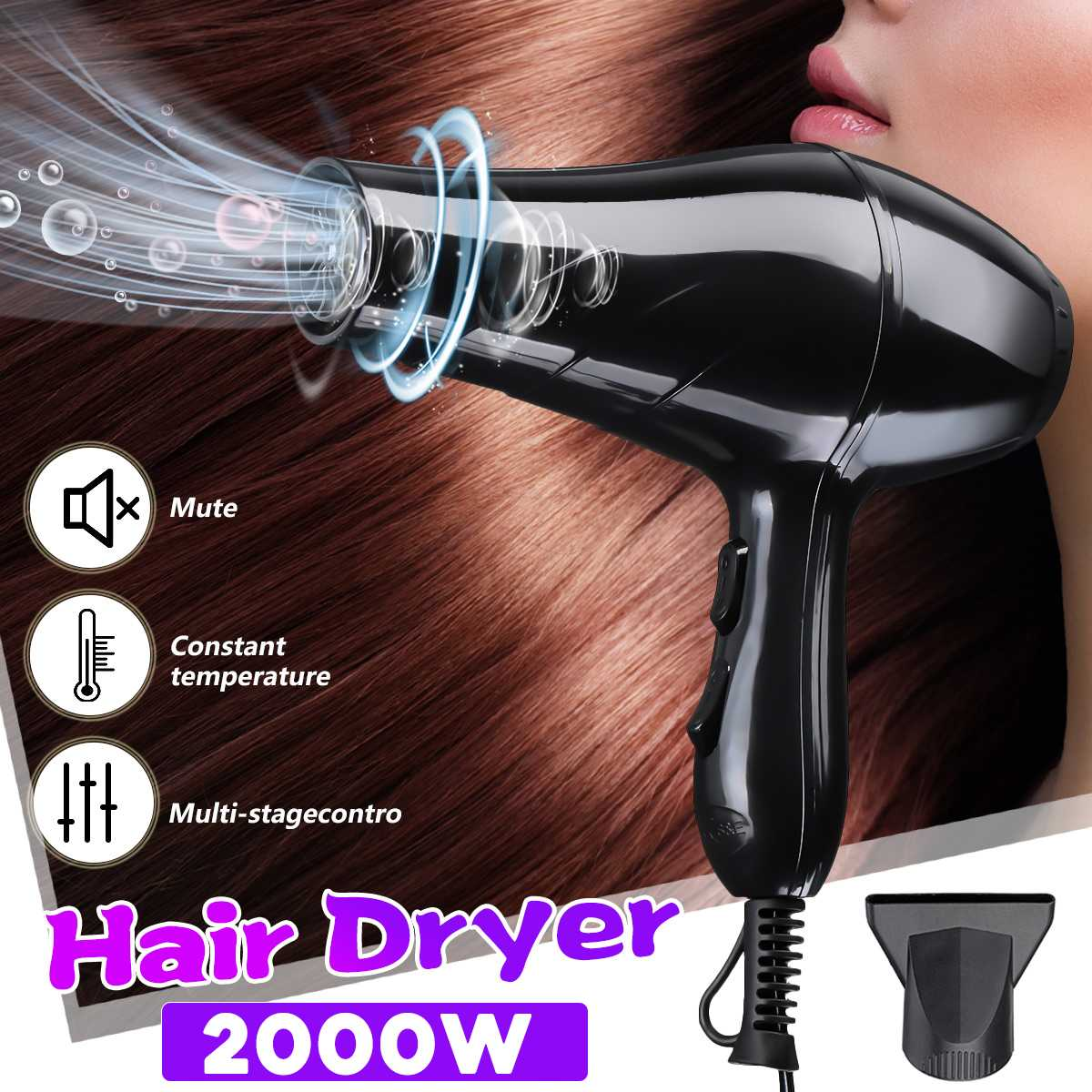 Professional 2000W Great Power Hair Dryer Hot & Cold Blow Fast Heating Large Power Salon For Anion Hairdressing Barber Salon
