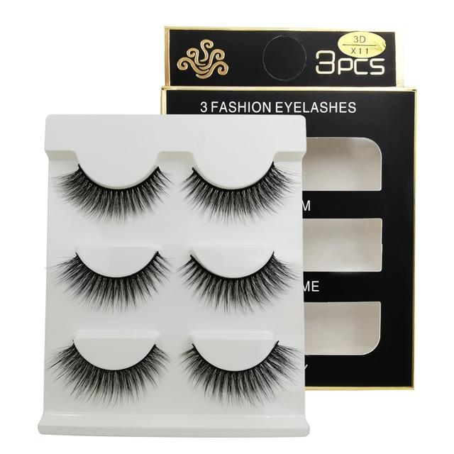 New 3 pairs natural false eyelashes fake lashes long makeup 3d mink lashes extension eyelash mink eyelashes for beauty #X11 2