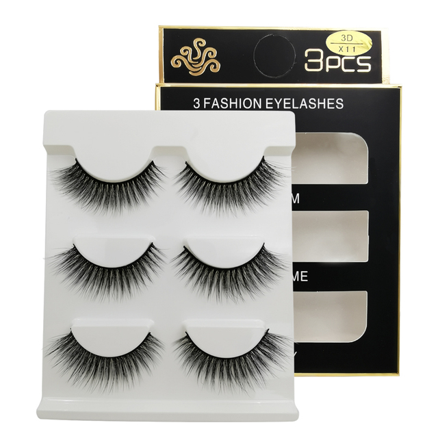 New 3 pairs natural false eyelashes fake lashes long makeup 3d mink lashes extension eyelash mink eyelashes for beauty #X11 1