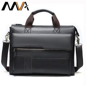 Image 1 - MVA mens briefcase Genuine Leather laptop bag mens leather bag office bags for men laptop briefcase lawyer men bags 8615